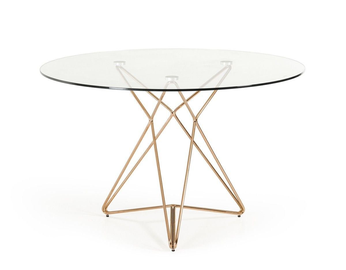 Modern Clear Round Glass Top Gold Stainless Steel Base Pertaining To Newest Avery Round Dining Tables (View 19 of 25)