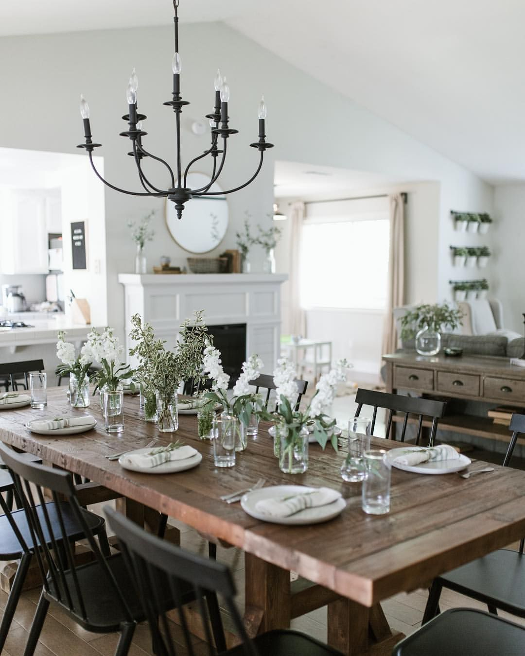 Modern Farmhouse Dining Room Tablescape In 2019 | Dining Within Most Popular Modern Farmhouse Extending Dining Tables (View 2 of 25)