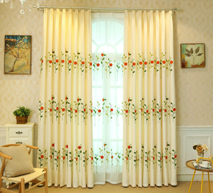 Modern Simple Sheer Curtain Embroidery Curtain Ladybug Grass Pattern Curtain For Embroidered Ladybugs Window Curtain Pieces (View 7 of 25)