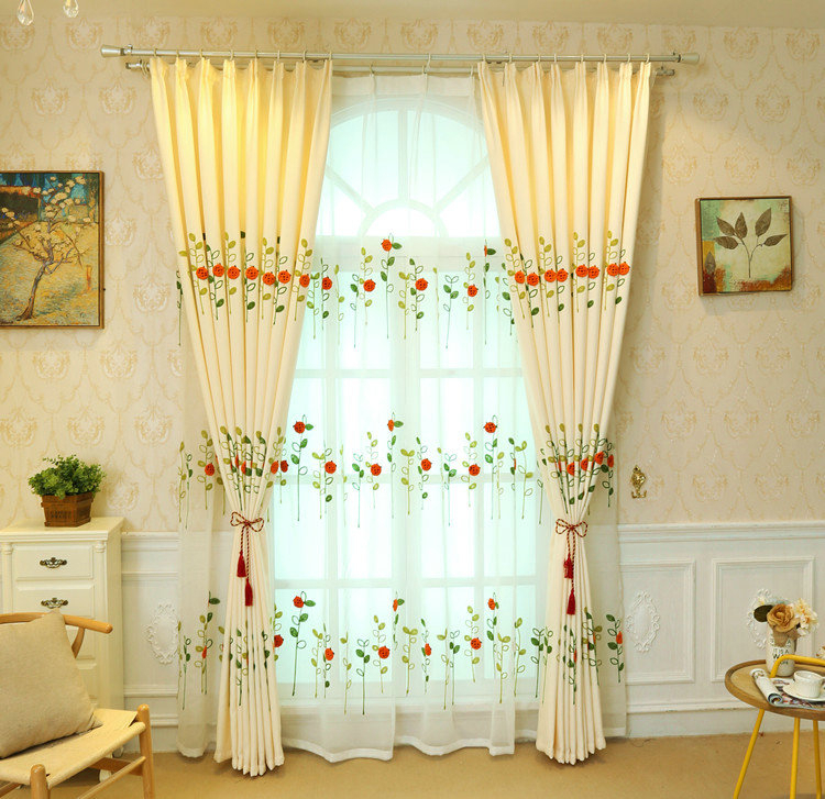 Modern Simple Sheer Curtain Embroidery Curtain Ladybug Grass Pattern Curtain Throughout Embroidered Ladybugs Window Curtain Pieces (View 22 of 25)