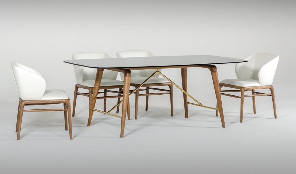 Modrest Kipling Modern Dining Room Set In Walnut & Cream For Newest Kipling Rectangular Dining Tables (Image 14 of 25)