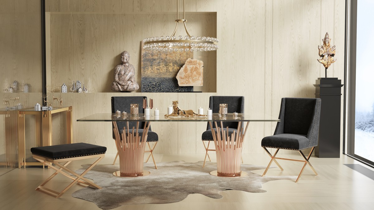 Modrest Paxton Modern Glass & Rosegold Dining Table For Most Popular Kipling Rectangular Dining Tables (Image 18 of 25)