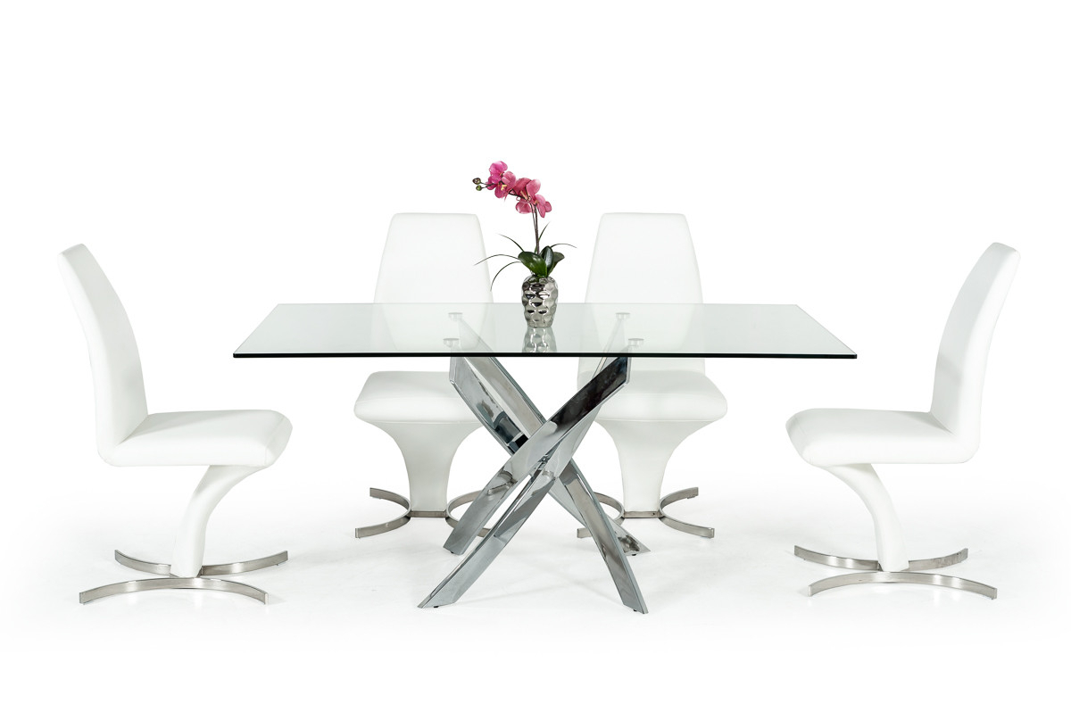 Modrest Pyrite Modern Rectangular Glass Dining Table For Recent Kipling Rectangular Dining Tables (Image 19 of 25)