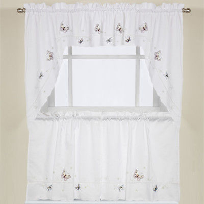"Monarch Butterfly White Kitchen Curtain Embroidered 24"" Tier, Swag & Valance Set 653078526479 