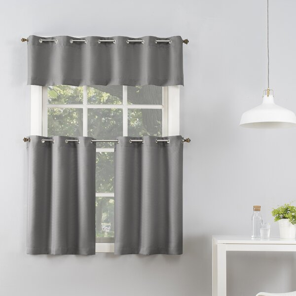 Montego Grommet Tier Curtains   Wayfair Inside Modern Subtle Texture Solid White Kitchen Curtain Parts With Grommets Tier And Valance Options (View 21 of 25)