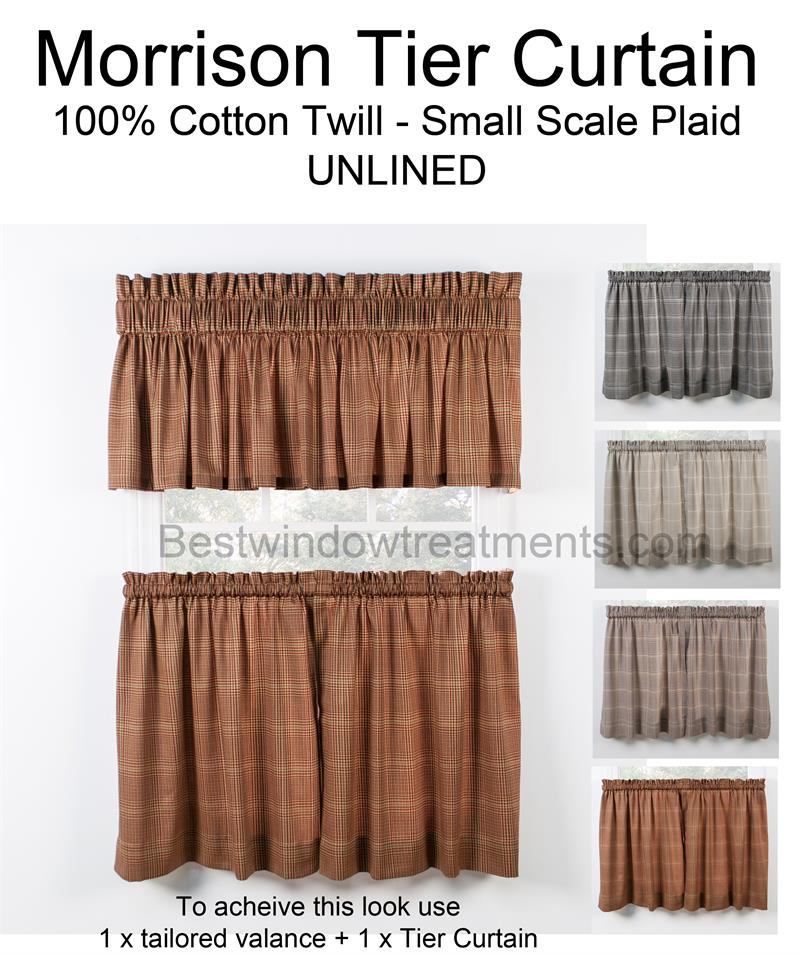 Morrison Plaid Tier Curtains | Bestwindowtreatments For Tailored Valance And Tier Curtains (View 10 of 25)