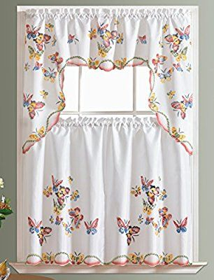 Most Delightful Three Piece Kitchen Butterfly Curtain Set Intended For Traditional Tailored Window Curtains With Embroidered Yellow Sunflowers (View 12 of 25)