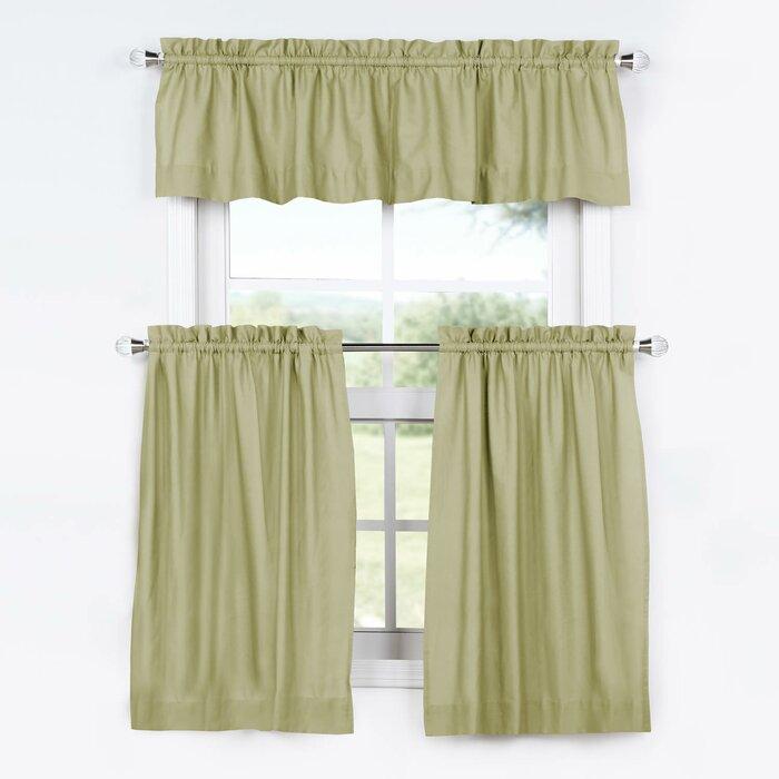 Mullan 3 Piece Solid Cotton Kitchen Curtain Set Inside Twill 3 Piece Kitchen Curtain Tier Sets (View 20 of 25)