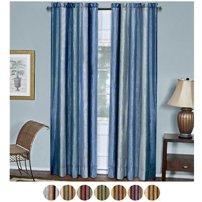 Multi Color 2 Panel Pack Striped Modern Semi Sheer Window Curtain Drape |  Ebay Within White Micro Striped Semi Sheer Window Curtain Pieces (Image 10 of 25)