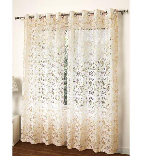 Multicolour Polycotton 55 X 84 Inch Aviary Floral Sheer Door Curtain Rosara For Aviary Window Curtains (Photo 17 of 25)