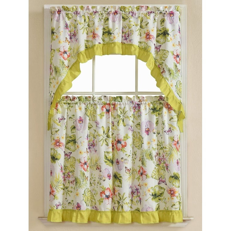 Nahal 3 Piece Printed Kitchen Curtain Set, Green, Tiers 30X36, Swag 60X36 Inches With Regard To Cotton Blend Ivy Floral Tier Curtain And Swag Sets (View 13 of 25)