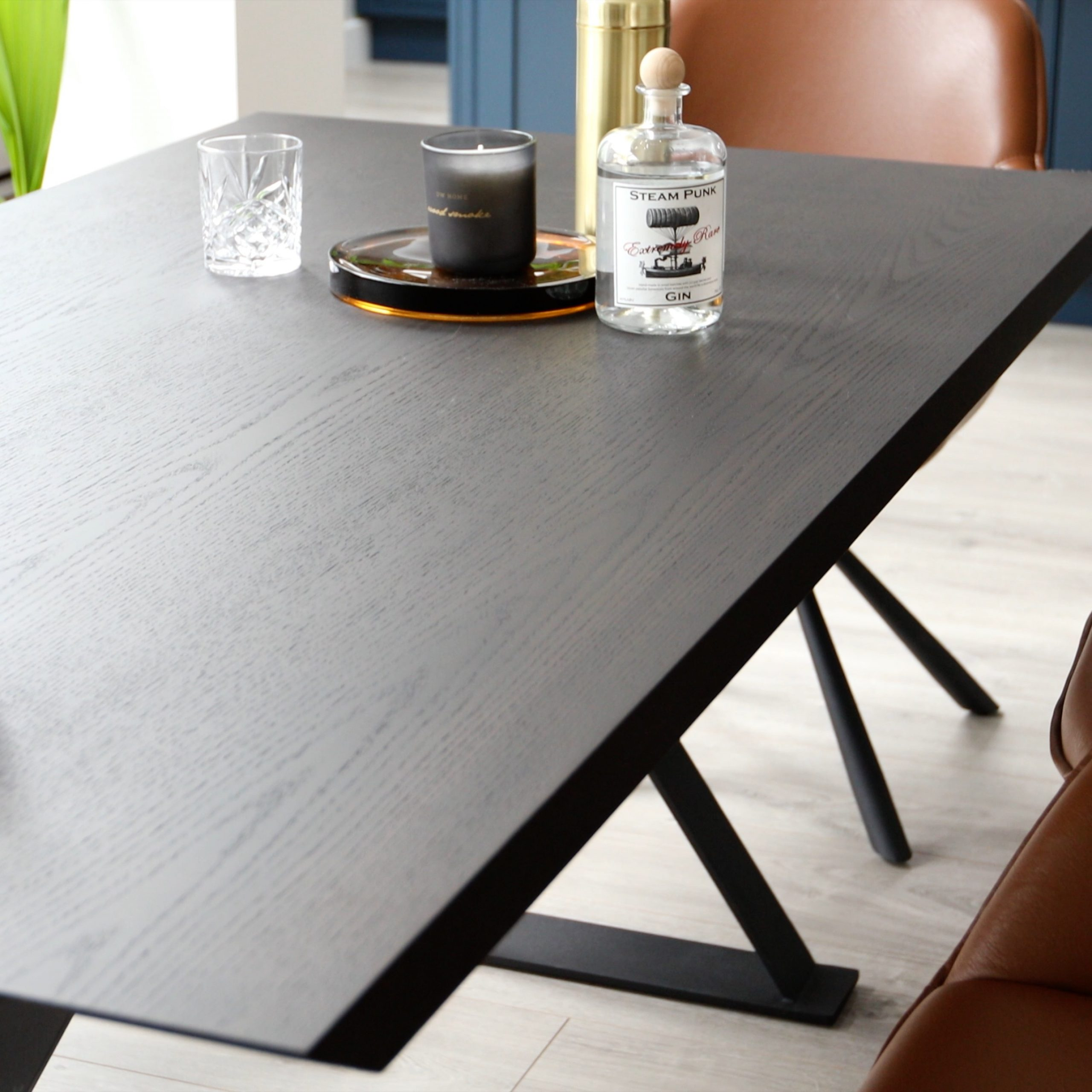 Nala Dark 6 Seater Washed Oak Dining Table | Danetti For Current Black Wash Banks Extending Dining Tables (View 13 of 25)