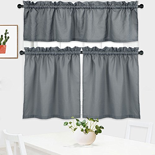 Nanan 3 Pieces Tier Curtains And Valance Set,waffle Weave Textured Half Window Cafe Curtains For Kitchen Water Proof Tailored Short Curtains For Inside Tailored Valance And Tier Curtains (View 20 of 25)