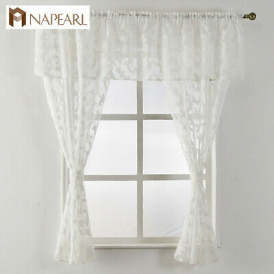 Napearl 1 Set Classic Kitchen Window Valance And Tiers Decor Voile Pelmet Drapes | Ebay For Classic Black And White Curtain Tiers (View 6 of 25)