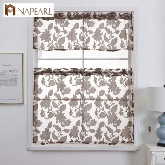 Napearl Kitchen Curtains Jacquard Design Rod Pocket Short Curtain Panel Valance And Tiers Window Treatment Modern Floral Style Pertaining To Rod Pocket Kitchen Tiers (View 8 of 25)