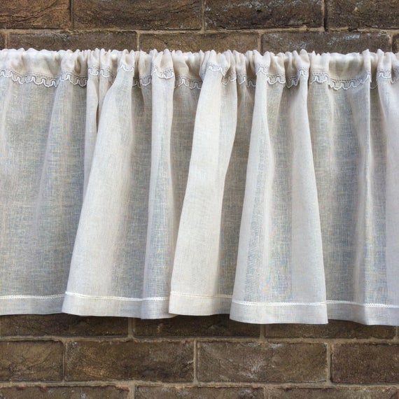 Natural Linen Lace Valance, Sheer Beige Kitchen Curtain, Cantonniere, Window Topper, Bedroom Decor Within Floral Watercolor Semi Sheer Rod Pocket Kitchen Curtain Valance And Tiers Sets (View 15 of 25)