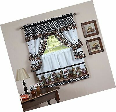 Naturally Home Mason Jars Kitchen Curtain Cottage Set, Tiers And Ruffled Swag 787732538147   Ebay Regarding Cottage Ivy Curtain Tiers (View 12 of 25)
