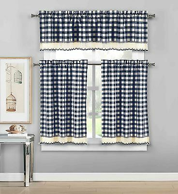 Navy 3 Pc Plaid Kitchen Curtain Set: 35% Cotton\1 Valance\2 Within Classic Navy Cotton Blend Buffalo Check Kitchen Curtain Sets (View 2 of 25)