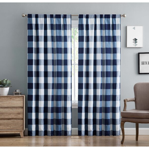 Navy Buffalo Plaid Curtains | Wayfair For Classic Navy Cotton Blend Buffalo Check Kitchen Curtain Sets (View 7 of 25)