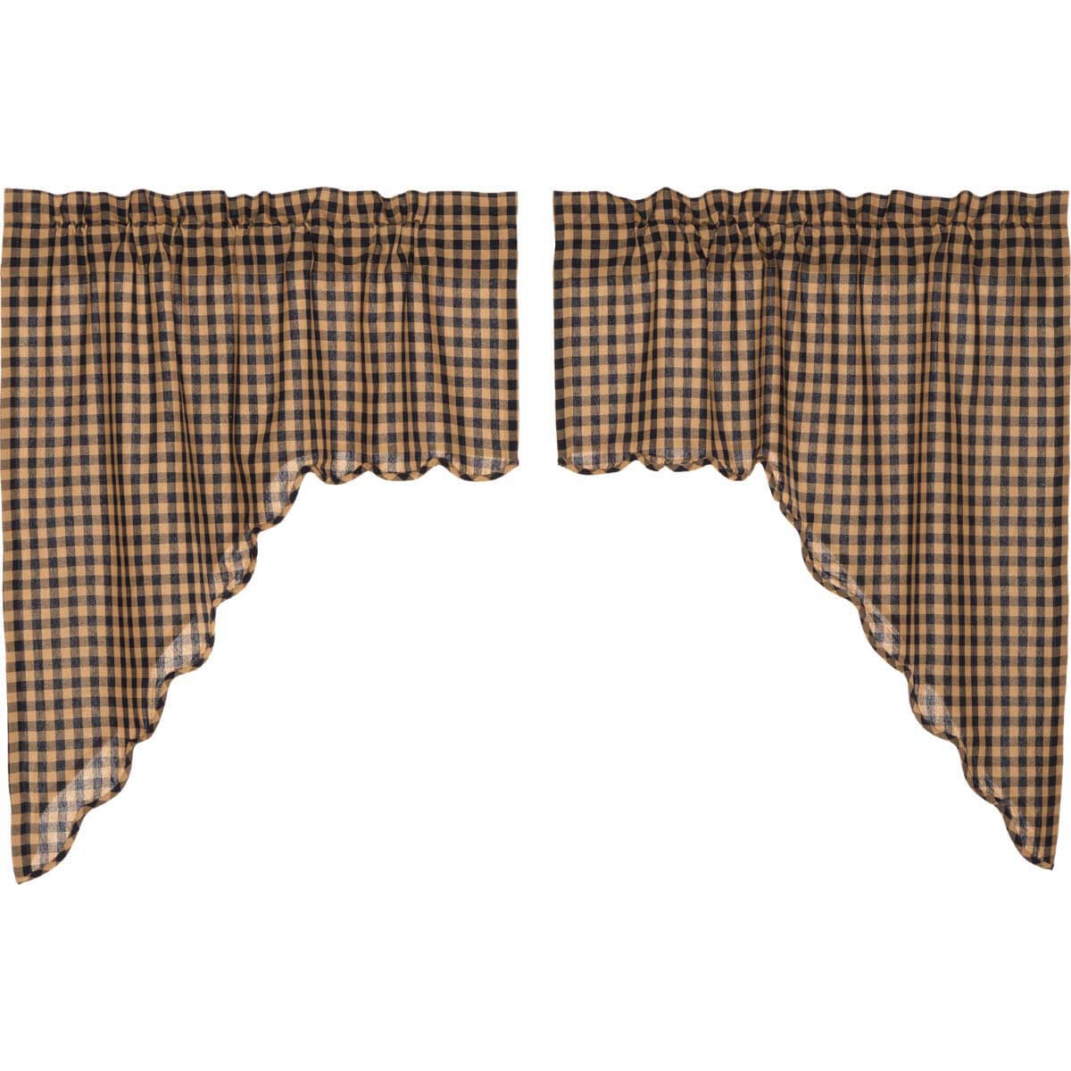 Navy Check Scalloped Swag Set Of 2 36X36X16 Within Check Scalloped Swag Sets (View 12 of 25)