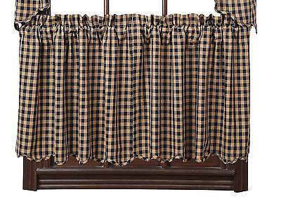 Navy Check Scalloped Swag Set Rustic Khaki Plaid Primitive With Check Scalloped Swag Sets (View 11 of 25)