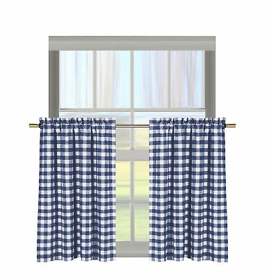 Featured Image of Classic Navy Cotton Blend Buffalo Check Kitchen Curtain Sets