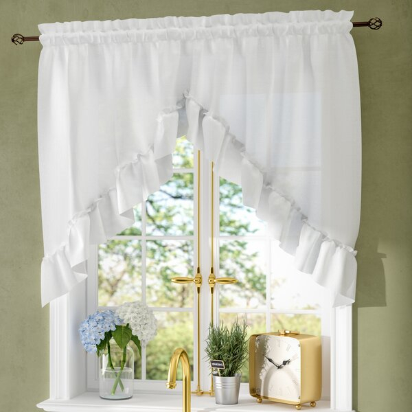 Navy Swag Valance | Wayfair With Navy Vertical Ruffled Waterfall Valance And Curtain Tiers (View 11 of 25)