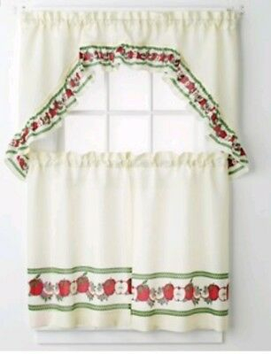 New! Apple Ruffled Swag Valence And Tier Set | Ebay With Regard To Urban Embroidered Tier And Valance Kitchen Curtain Tier Sets (View 12 of 25)