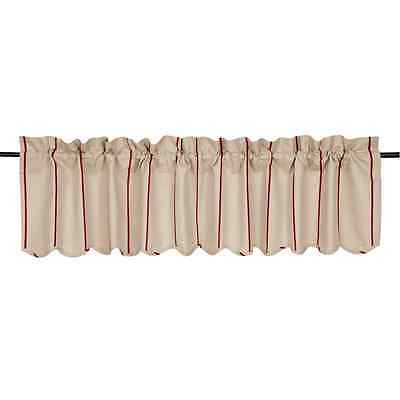 New Farmhouse Cottage Chic Charlotte Red Stripe Valance Linen Curtain | Ebay In Farmhouse Stripe Kitchen Tier Pairs (Image 20 of 25)