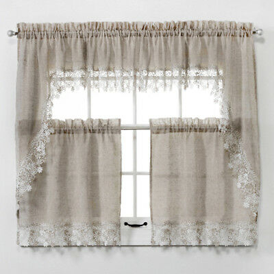 New Lillian Faux Linen Kitchen Curtain With Macrame Trim – Macrame Curtains  9780784704646 | Ebay Pertaining To Bermuda Ruffle Kitchen Curtain Tier Sets (Image 14 of 25)