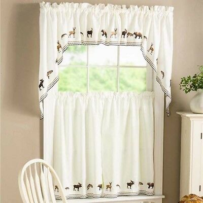 New Lodge Embroidered Wildlife Kitchen Curtain – Tier Pairs, Valance Or Swag Pr | Ebay Within Lodge Plaid 3 Piece Kitchen Curtain Tier And Valance Sets (View 13 of 25)