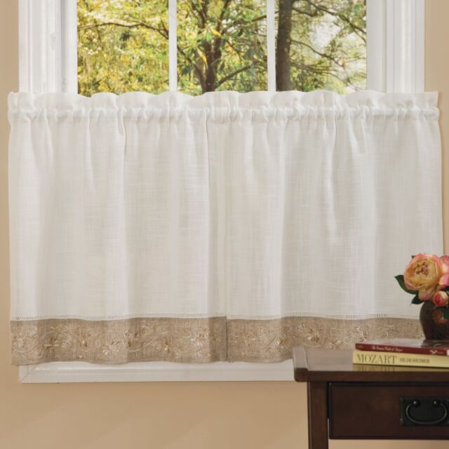 New – Oakwood Embroidered Linen Style Kitchen Curtain Window Curtain Inside Oakwood Linen Style Decorative Window Curtain Tier Sets (View 3 of 25)