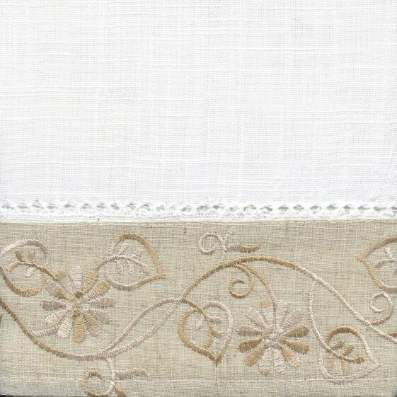 New – Oakwood Embroidered Linen Style Kitchen Curtain Window Curtain Throughout Oakwood Linen Style Decorative Curtain Tier Sets (View 17 of 25)