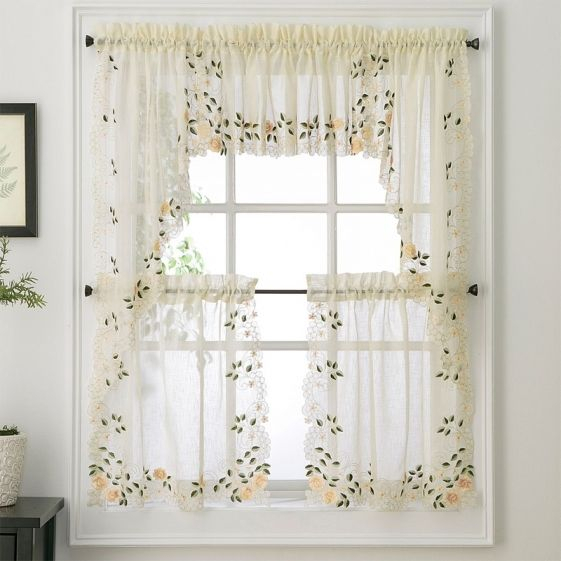 New – Rosemary Floral Kitchen Tier Curtain   Ebay Throughout Hopscotch 24 Inch Tier Pairs In Neutral (Image 13 of 25)