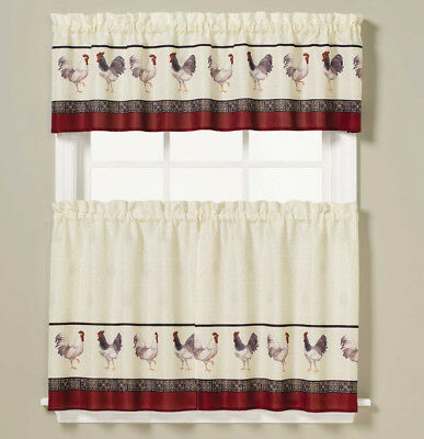 New – Saturday Knight French Country Rooster Kitchen Curtain Regarding Kitchen Curtain Tiers (View 17 of 25)
