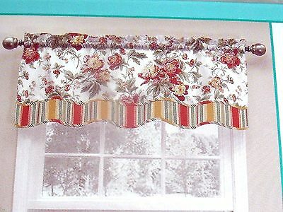 New Waverly Forever Yours Valance Curtain Scallop Pink Gold Throughout Waverly Kensington Bloom Window Tier Pairs (View 19 of 25)