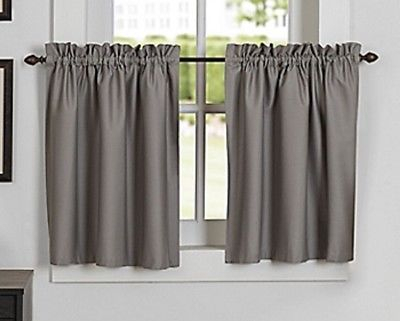 Newport Rod Pocket Kitchen Window Curtain Tier In Grey | Ebay For Rod Pocket Kitchen Tiers (View 2 of 25)
