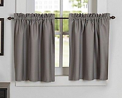 Newport Rod Pocket Kitchen Window Curtain Tier In Grey   Ebay Regarding Twill 3 Piece Kitchen Curtain Tier Sets (View 5 of 25)