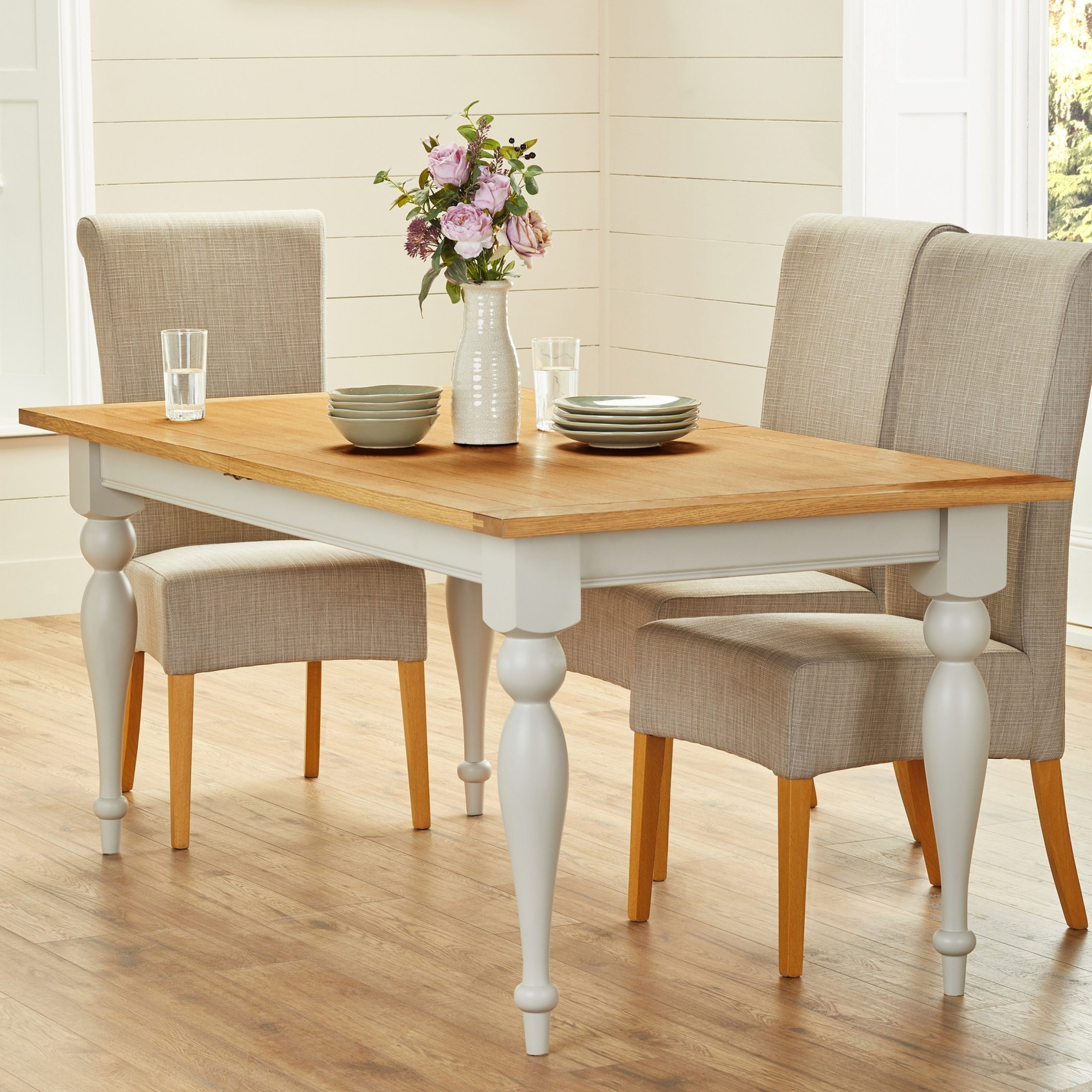 Next Huntingdon Painted Dining Table – Grey | Dining Table Within Most Recent Warner Round Pedestal Dining Tables (View 9 of 25)