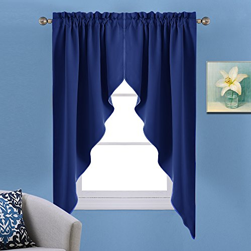 Nicetown Blackout Rod Pocket Kitchen Tier Curtains Tailored Scalloped Valance/swags For Living Room (1 Pair, W36 X L63 Inches Each Panel, Royal Blue) In Rod Pocket Kitchen Tiers (View 3 of 25)