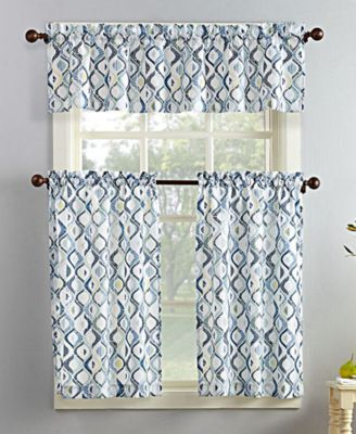 Featured Image of Geometric Print Microfiber 3 Piece Kitchen Curtain Valance And Tiers Sets