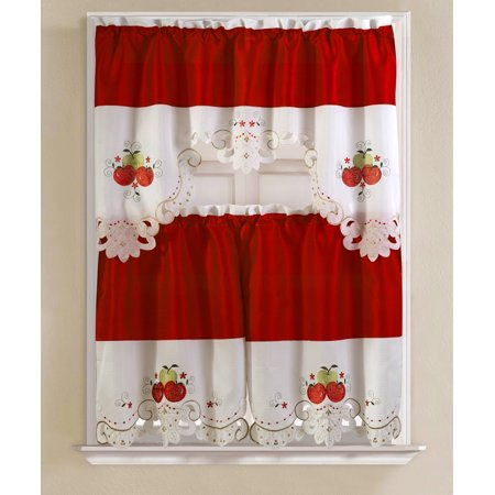 Noble Embroidered Apple Tier And Valance Kitchen Curtain Set Throughout Delicious Apples Kitchen Curtain Tier And Valance Sets (Image 17 of 25)