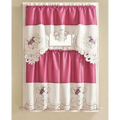 Noble Embroidered Grape Tier And Valance Kitchen Curtain Set | Ebay For Urban Embroidered Tier And Valance Kitchen Curtain Tier Sets (View 3 of 25)