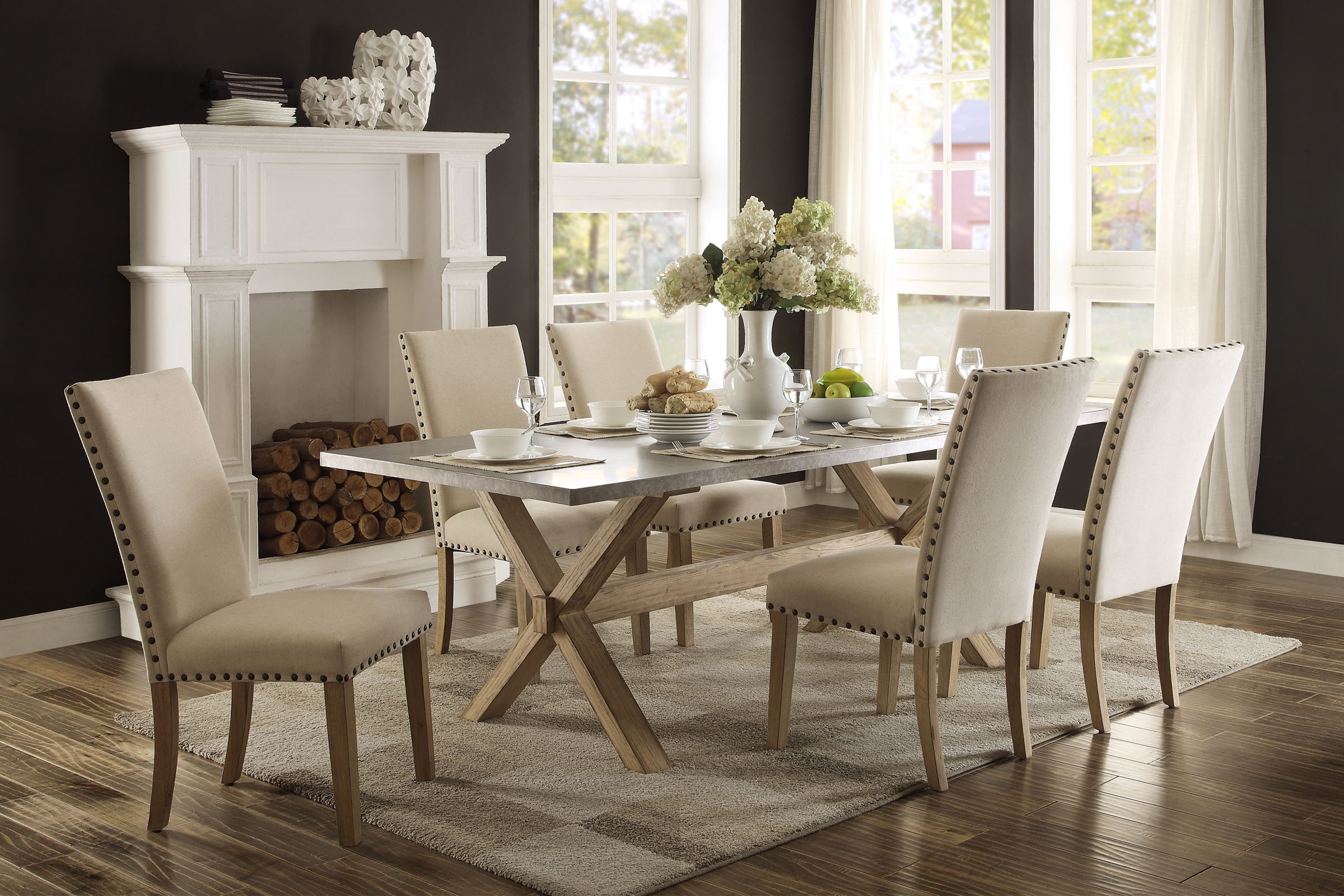 Nolan Dining Set With 6 Chairs Throughout Most Recent Nolan Round Pedestal Dining Tables (View 21 of 25)