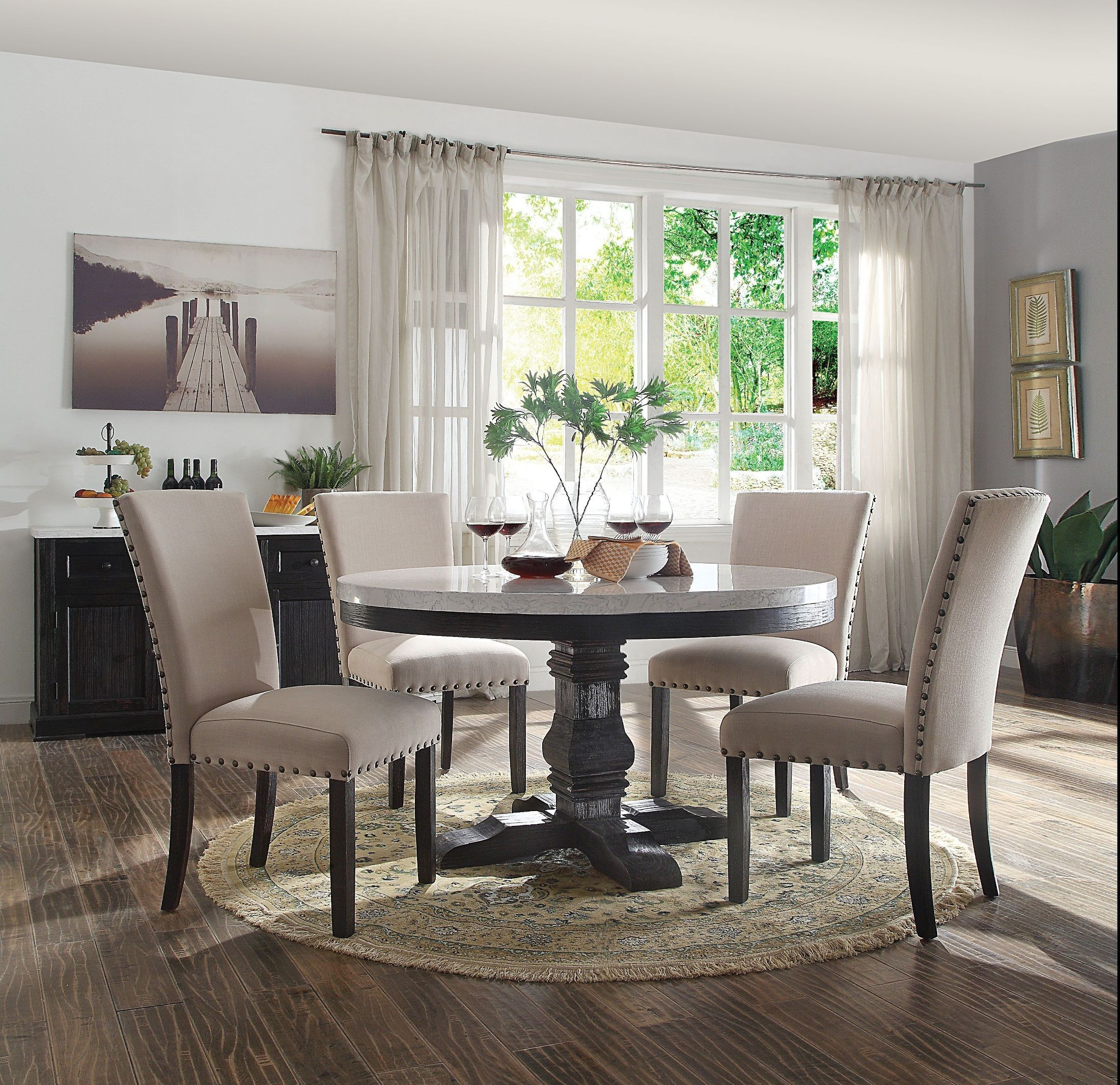 Nolan White Marble And Salvage Dark Oak Pedestal Dining Room With Most Recently Released Nolan Round Pedestal Dining Tables (View 7 of 25)