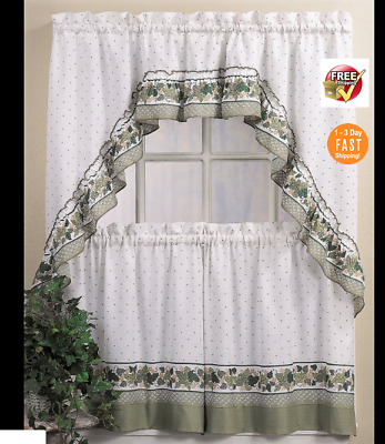 """Nos Designables Decordesign Ivy Tier Curtains Blue 60"""" W In Cottage Ivy Curtain Tiers (View 13 of 25)"""