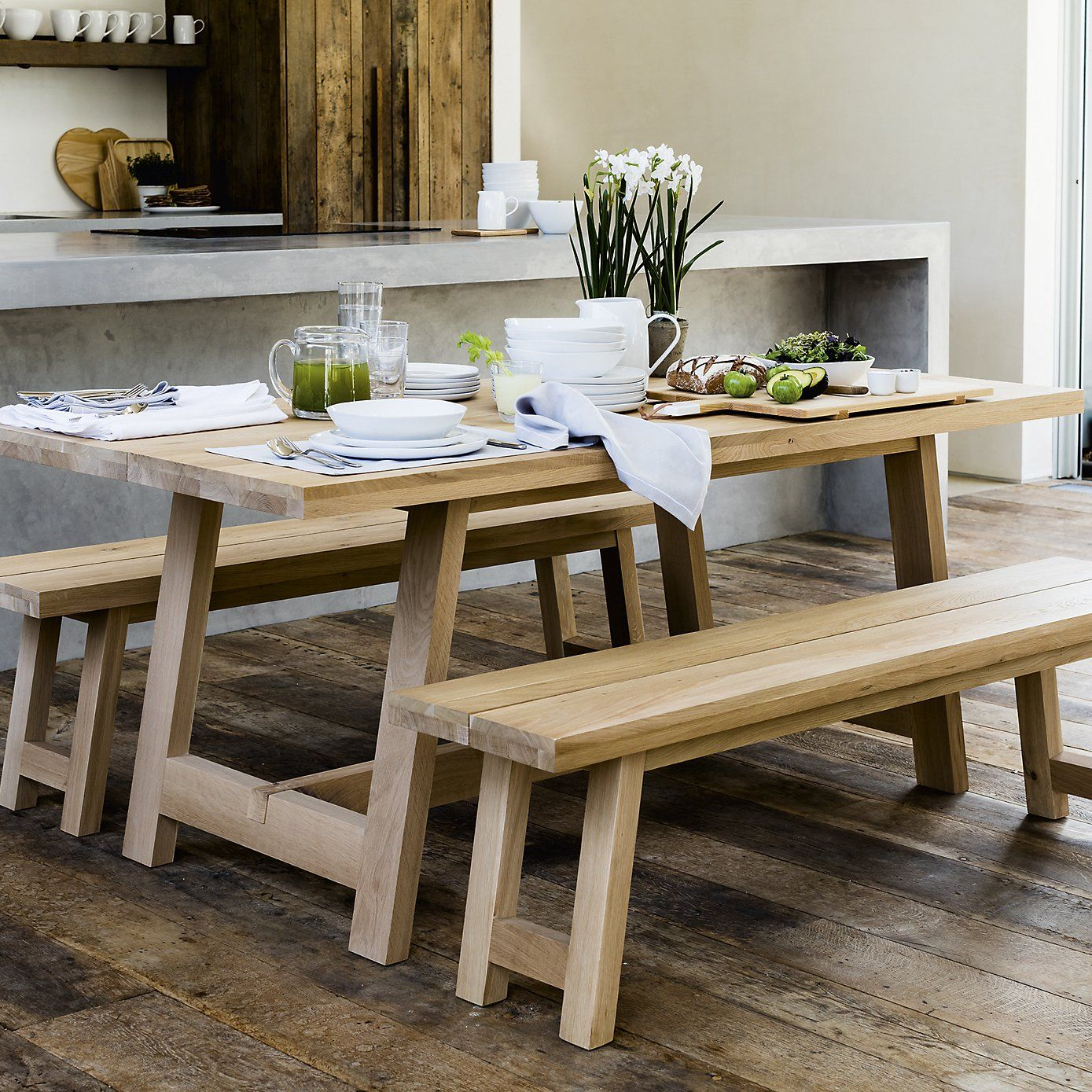 Oak Dining Table 6 8 Seate | The White Company | Oak Dining For Most Recently Released Blackened Oak Benchwright Extending Dining Tables (View 12 of 25)