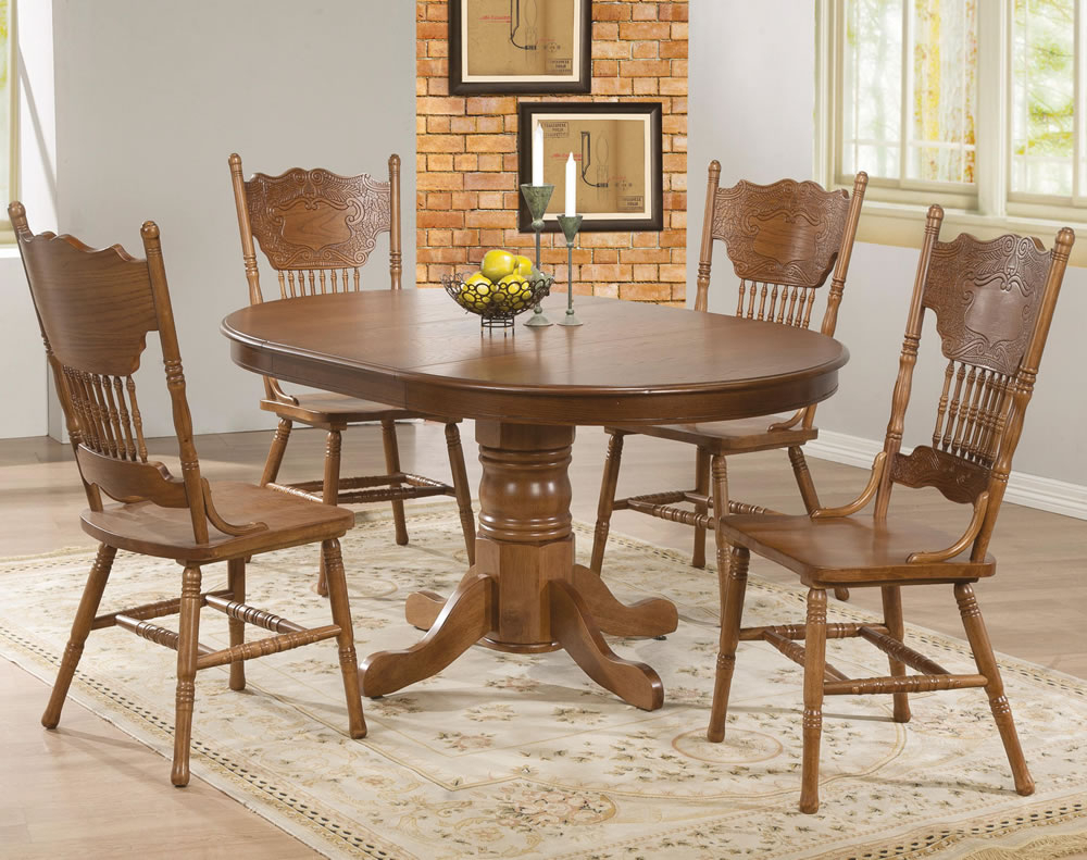 Oak Extendable Dining Table Set Styles | Throughout 2018 Benchwright Round Pedestal Dining Tables (View 23 of 25)