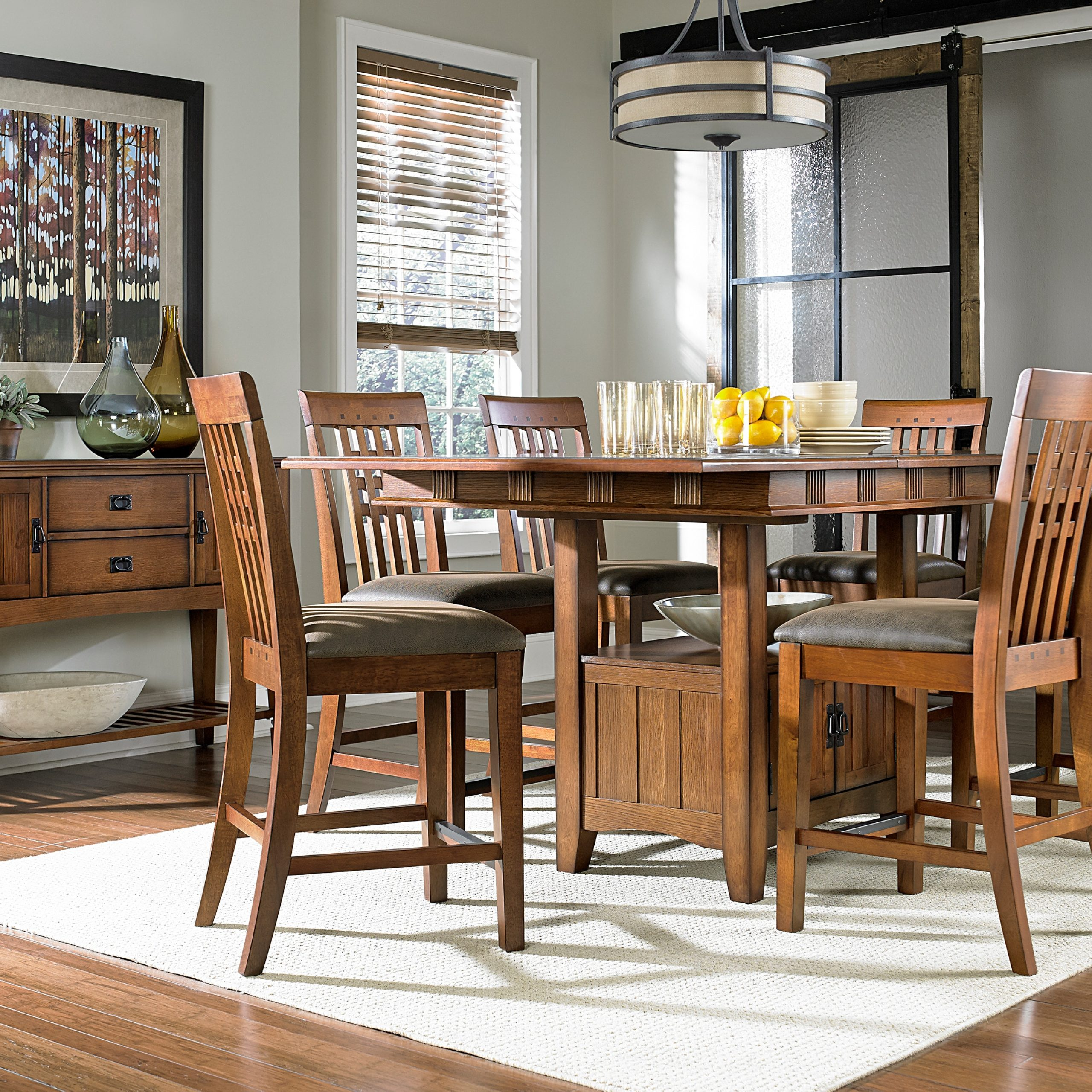 Oak Park Counter Height Table And Four Stools – Oak Throughout 2018 Lucy Bar Height Dining Tables (Image 23 of 25)