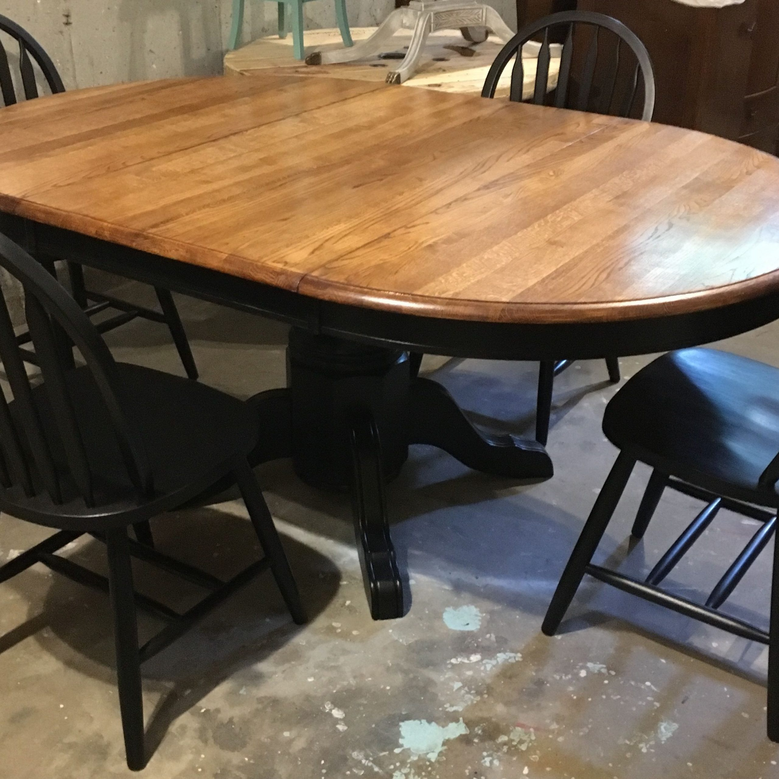 Oak Tabletop With Large Leaf, Sanded Down To Raw Wood And Pertaining To Latest Blackened Oak Benchwright Pedestal Extending Dining Tables (View 20 of 25)